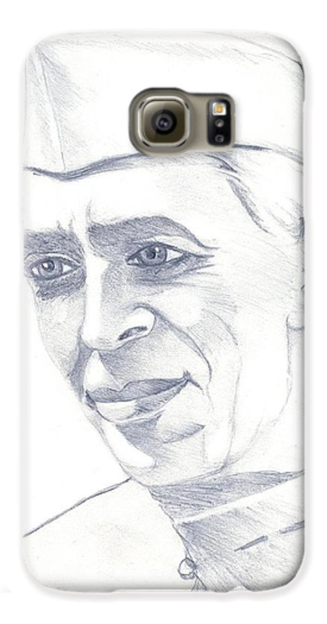 Jawaharl Lal Nehru Photos Galaxy S6 Case featuring the painting Jawaharlal Nehru by Tanmay Singh