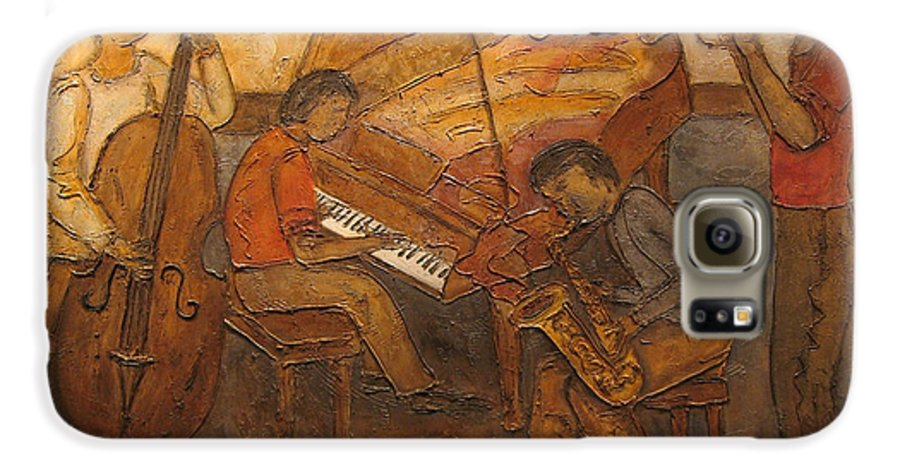 Impressionist Galaxy S6 Case featuring the painting Jazz Quartet by Anita Burgermeister