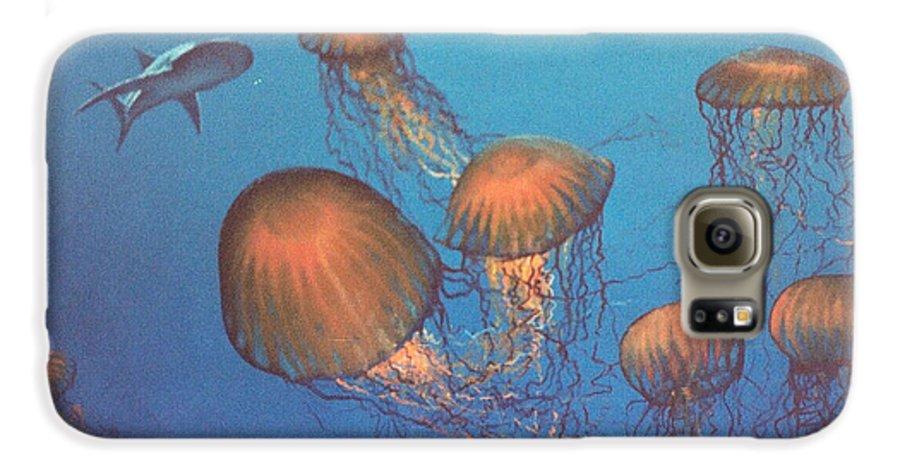 Underwater Galaxy S6 Case featuring the painting Jellyfish And Mr. Bones by Philip Fleischer