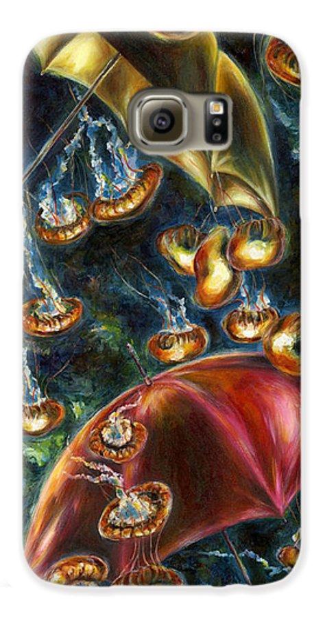 Jellyfish Galaxy S6 Case featuring the painting Jellyfishy Evening by Hiroko Sakai