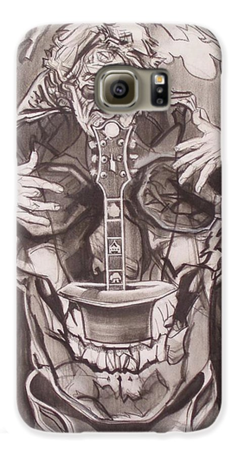 Charcoal; Skull;guitar;music;magic;mystic;wizard;cape;hat;shades;grateful Dead;deadheads Galaxy S6 Case featuring the drawing Jerry Garcia . . Magic Is What We Do - Music Is How We Do It by Sean Connolly