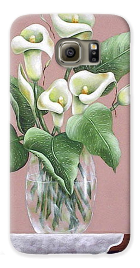 Oil Galaxy S6 Case featuring the painting Josies Lilies by Ruth Bares