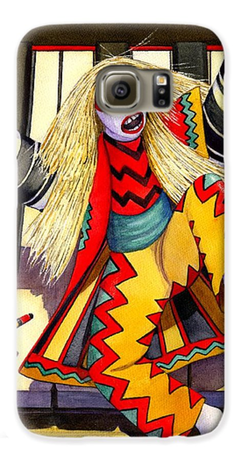 Kabuki Galaxy S6 Case featuring the painting Kabuki Chopsticks 3 by Catherine G McElroy