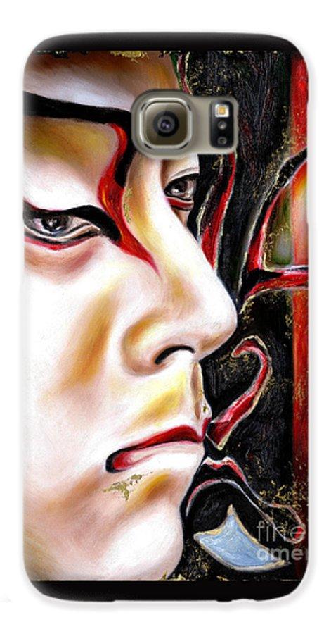 Kabuki Galaxy S6 Case featuring the painting Kabuki Three by Hiroko Sakai