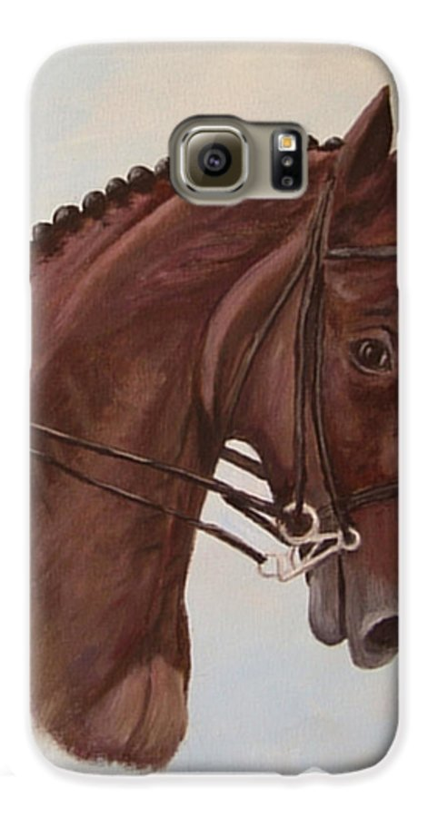 Horse Galaxy S6 Case featuring the painting Kingd'azur by Quwatha Valentine