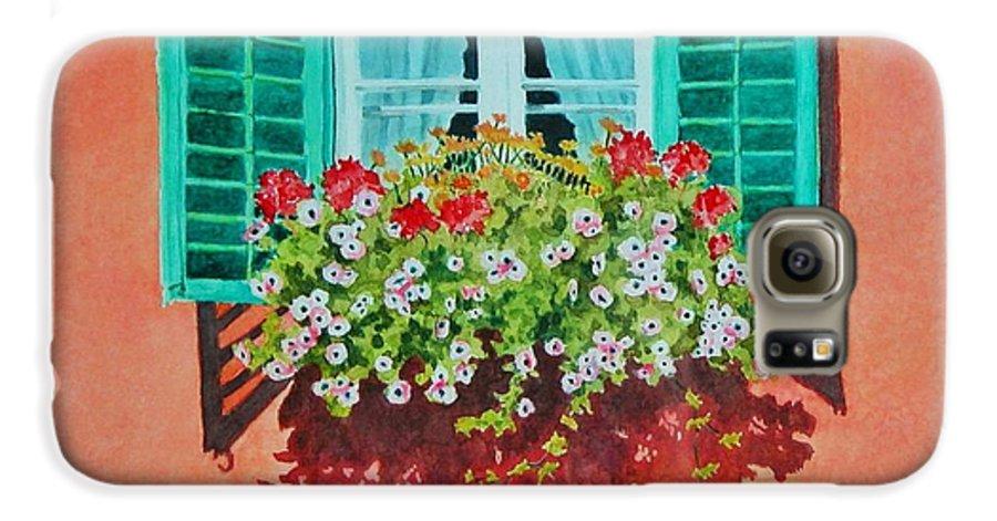Window Box Galaxy S6 Case featuring the painting Kitzbuhel Window by Mary Ellen Mueller Legault