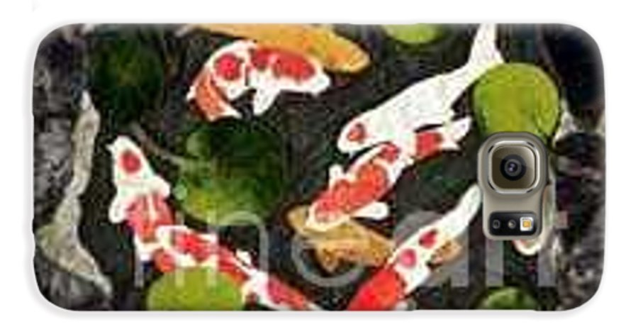 Fiber Galaxy S6 Case featuring the tapestry - textile Koi Fest by Jenny Williams