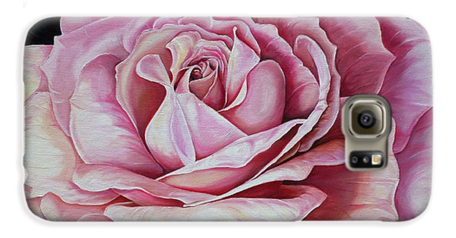 Rose Painting Pink Rose Painting  Floral Painting Flower Painting Botanical Painting Greeting Card Painting Galaxy S6 Case featuring the painting La Bella Rosa by Karin Dawn Kelshall- Best