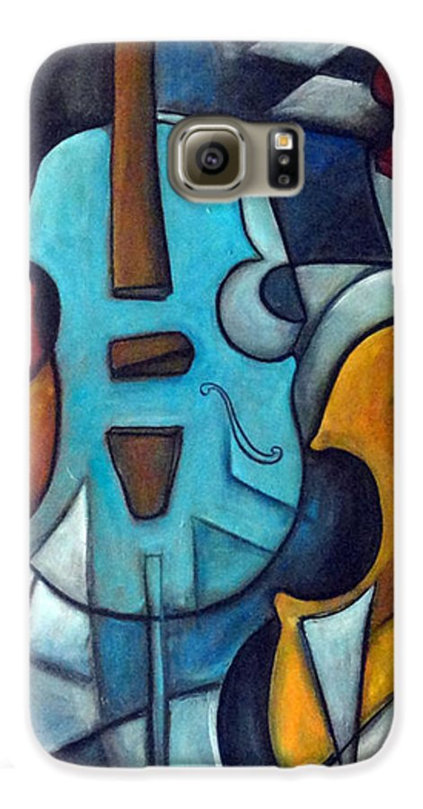 Music Galaxy S6 Case featuring the painting La Musique 2 by Valerie Vescovi