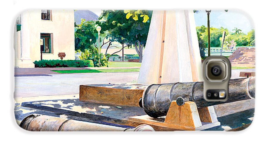 Lahaina Maui Cannons Galaxy S6 Case featuring the painting Lahaina 1812 Cannons by Don Jusko