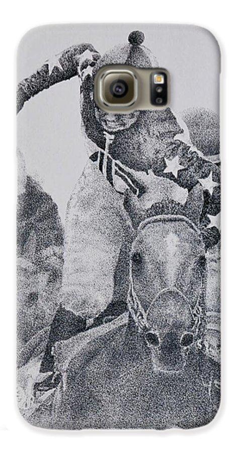 Horses Horse Racing Jockeys Racetrack Azeri Thorobreds Galaxy S6 Case featuring the painting Last Call by Tony Ruggiero