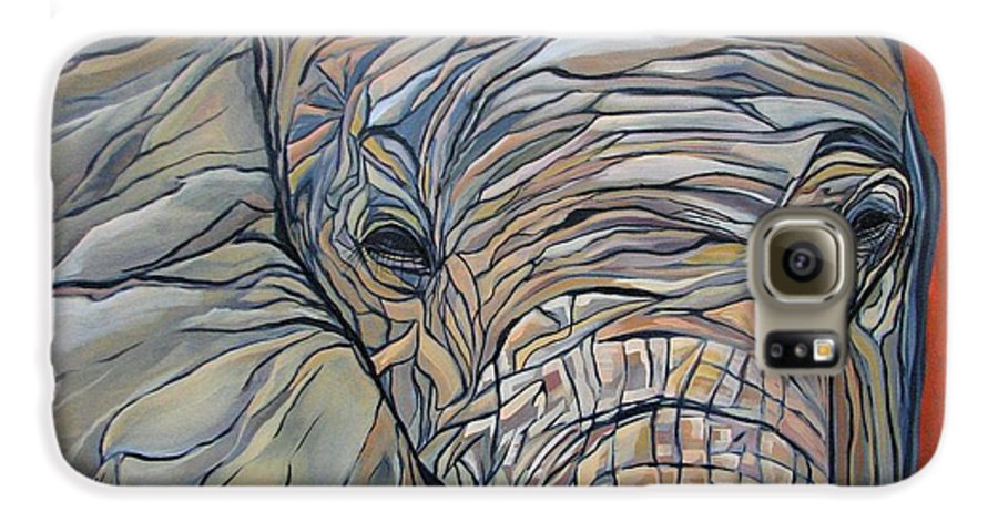 Elephant Galaxy S6 Case featuring the painting Lazy Boy by Aimee Vance