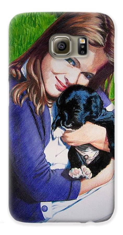 Girl Galaxy S6 Case featuring the mixed media Leslie And Sergeant by Constance Drescher