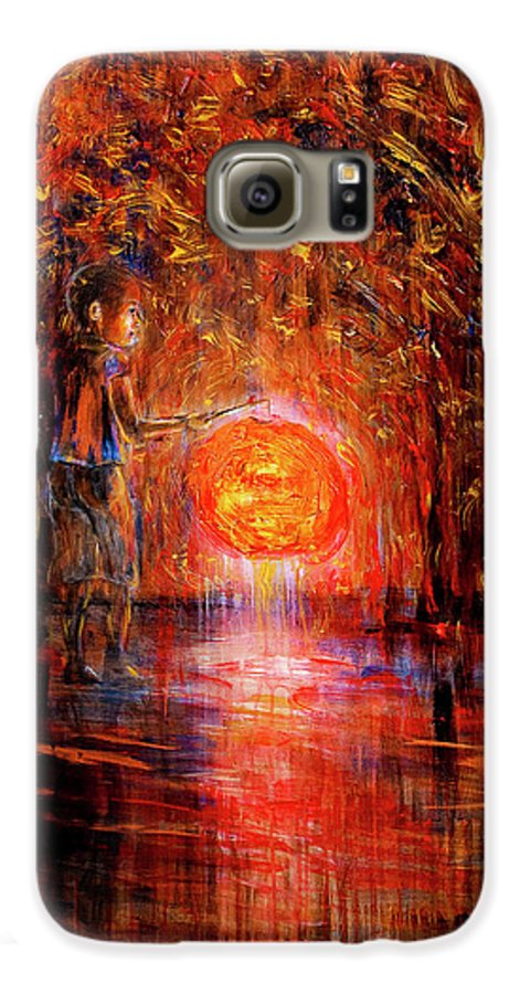 Lantern Galaxy S6 Case featuring the painting Light by Nik Helbig