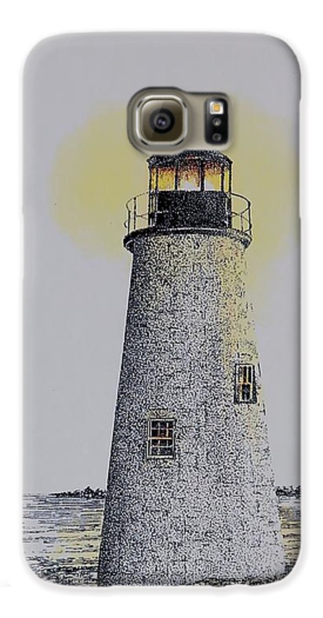New England Lighthouse Seascape Landscape Pen & Ink Watercolor Coastline Connecticut Galaxy S6 Case featuring the painting Light On The Sound by Tony Ruggiero