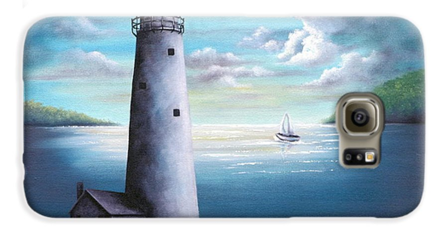 Oil Galaxy S6 Case featuring the painting Lighthouse by Ruth Bares