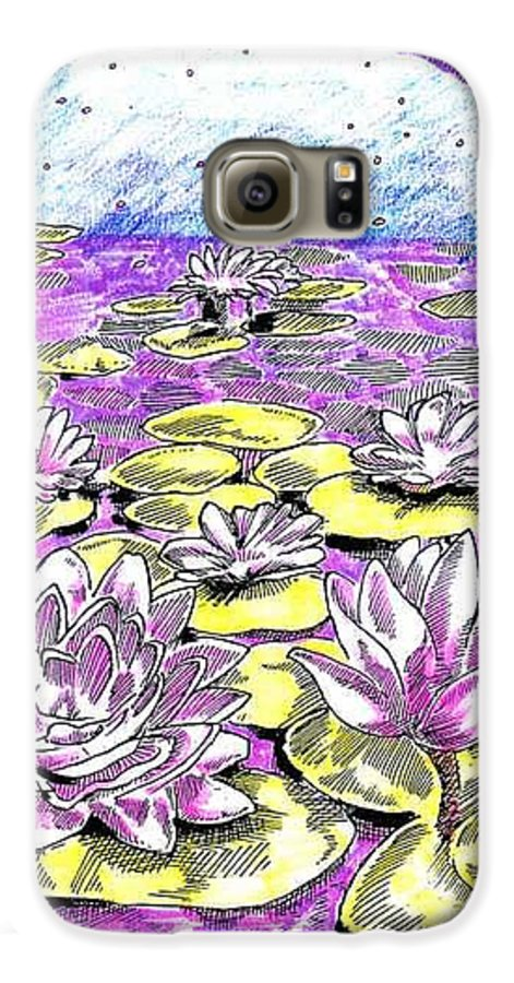 Lilies Of The Lake Galaxy S6 Case featuring the drawing Lilies Of The Lake by Seth Weaver