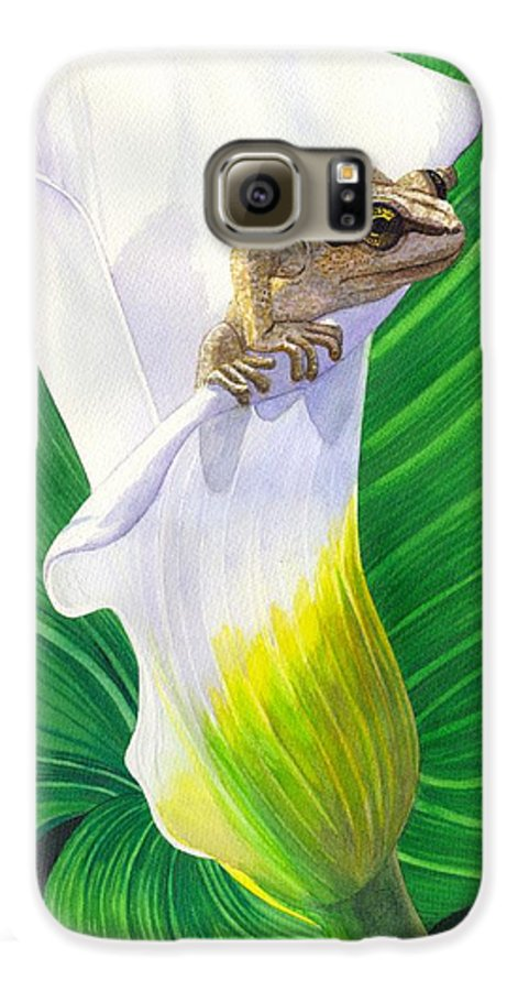 Frog Galaxy S6 Case featuring the painting Lily Dipping by Catherine G McElroy