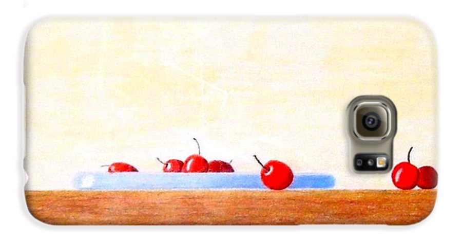 Cherries Galaxy S6 Case featuring the painting Lite Life by A Robert Malcom