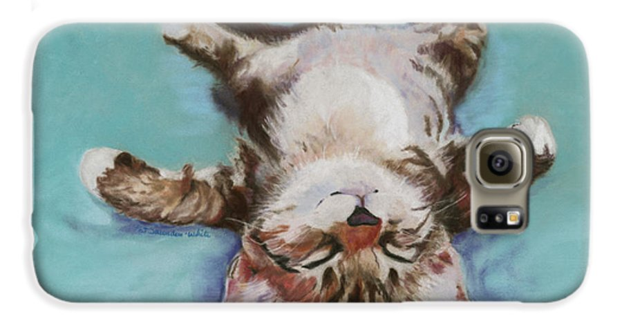 Cat Painting Galaxy S6 Case featuring the pastel Little Napper by Pat Saunders-White