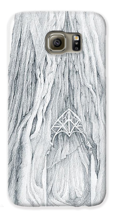 Lothlorien Galaxy S6 Case featuring the drawing Lothlorien Mallorn Tree by Curtiss Shaffer