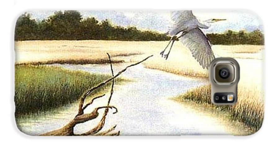 Egret Galaxy S6 Case featuring the painting Low Country Marsh by Ben Kiger