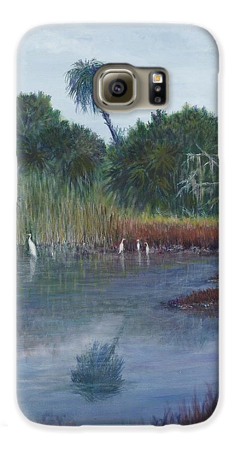 Landscape Galaxy S6 Case featuring the painting Low Country Social by Ben Kiger