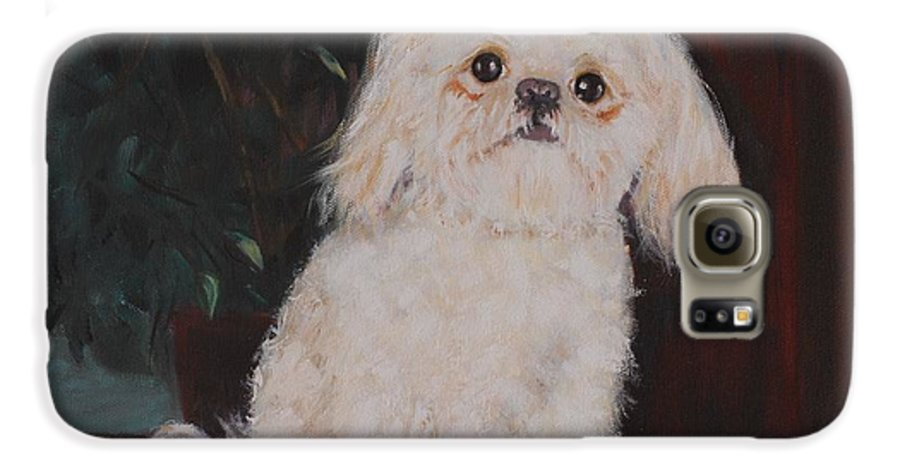 Dog Galaxy S6 Case featuring the painting Lulu by Quwatha Valentine