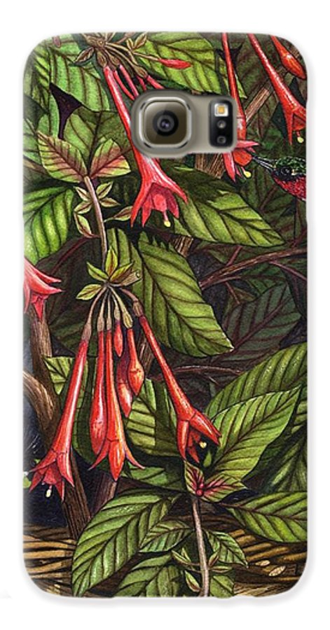 Fuchsia Galaxy S6 Case featuring the painting Lurking by Catherine G McElroy