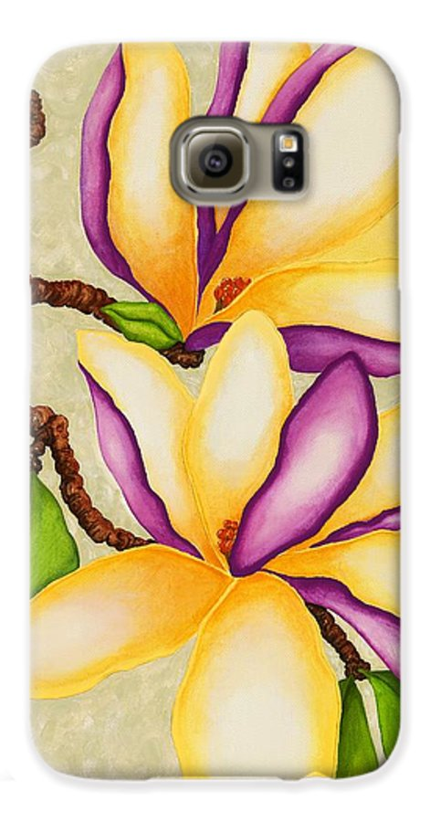 Two Magnolias Galaxy S6 Case featuring the painting Magnolias by Carol Sabo