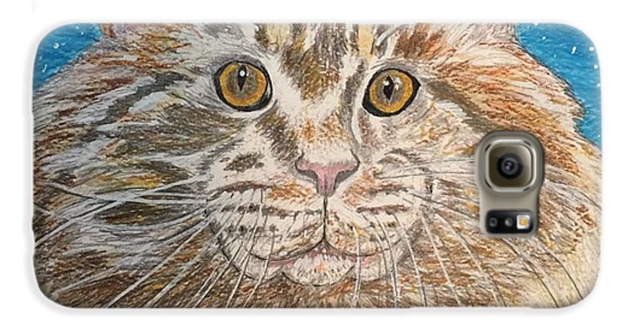 Maine Galaxy S6 Case featuring the painting Maine Coon Cat by Kathy Marrs Chandler