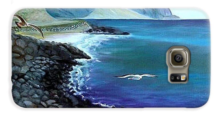 Malibu Beach Galaxy S6 Case featuring the painting Malibu Beach by Lora Duguay