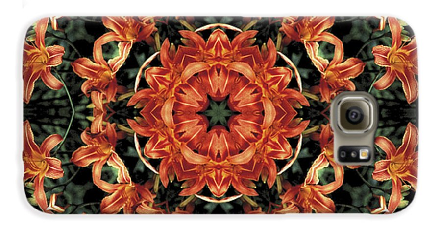 Mandala Galaxy S6 Case featuring the photograph Mandala Daylily by Nancy Griswold