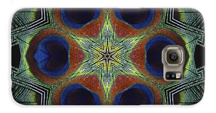 Mandala Galaxy S6 Case featuring the digital art Mandala Peacock by Nancy Griswold