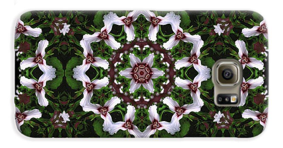 Mandala Galaxy S6 Case featuring the digital art Mandala Trillium Holiday by Nancy Griswold