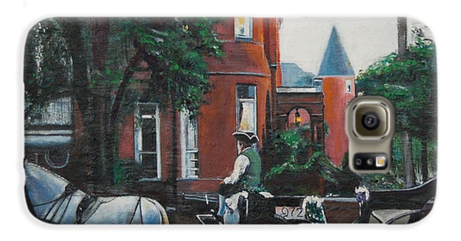 Galaxy S6 Case featuring the painting Mansion On Forsythe Savannah Georgia by Jude Darrien