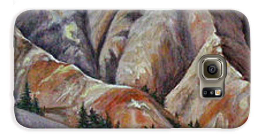 Mountains Galaxy S6 Case featuring the painting Marble Ridge by Elaine Booth-Kallweit