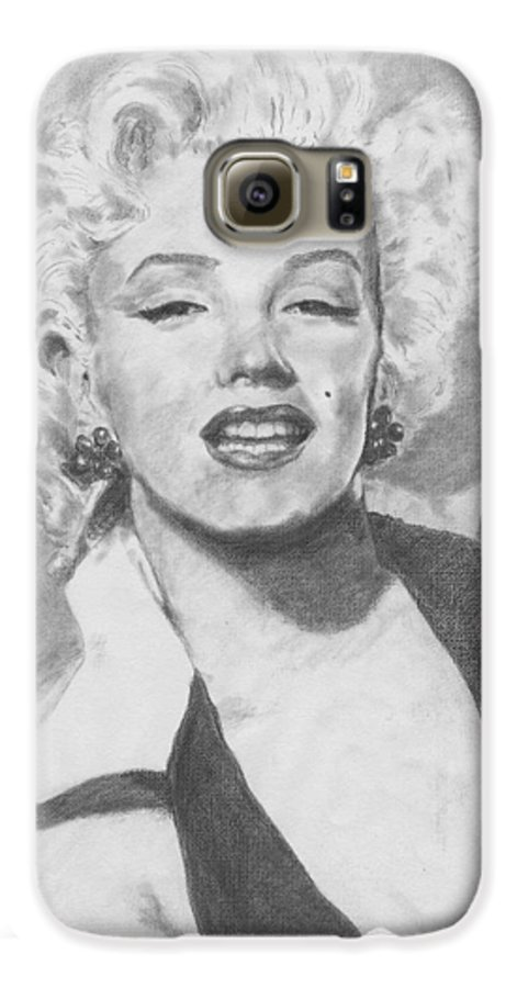 Marilyn Galaxy S6 Case featuring the drawing Marilyn. by Janice Gell