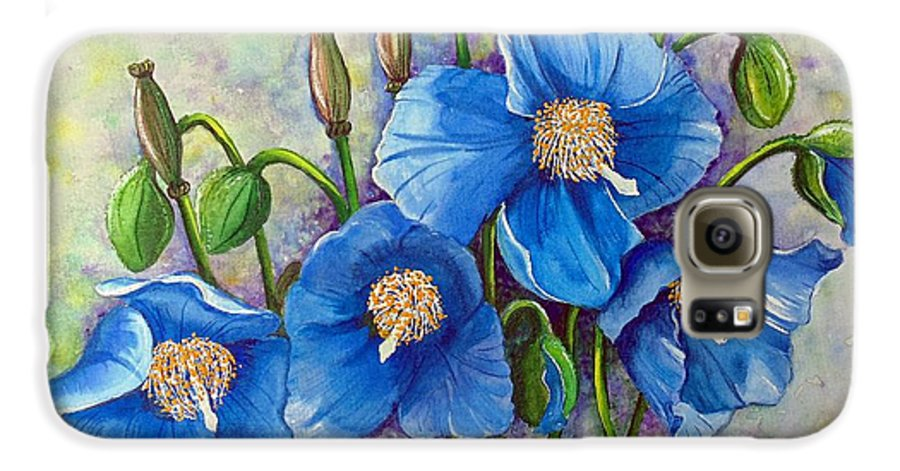 Blue Hymalayan Poppy Galaxy S6 Case featuring the painting Meconopsis  Himalayan Blue Poppy by Karin Dawn Kelshall- Best