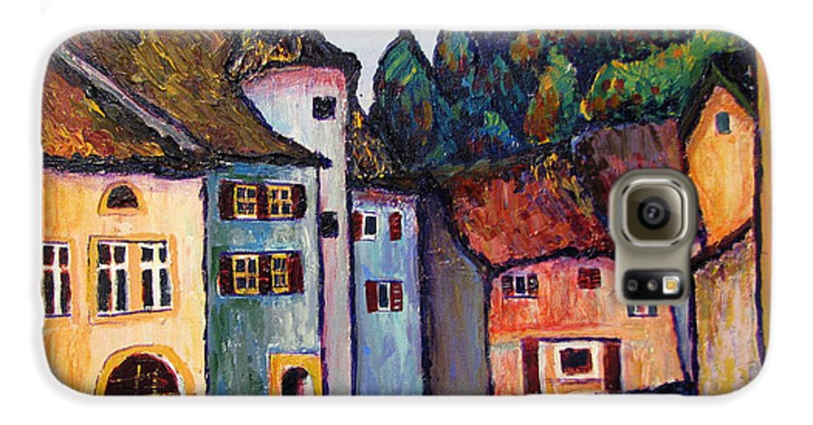 Medieval Galaxy S6 Case featuring the painting Medieval Village Of St. Ursanne Switzerland by Art Nomad Sandra Hansen