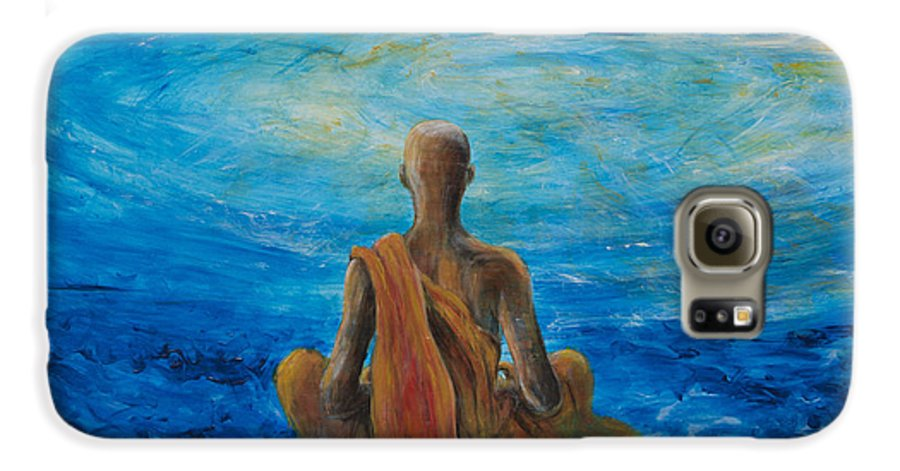 Monk Galaxy S6 Case featuring the painting Meditation by Nik Helbig