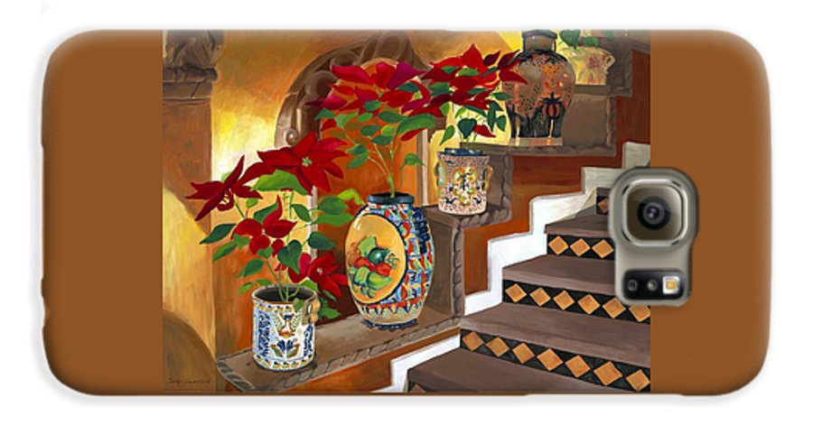 Mexican Pottery Galaxy S6 Case featuring the painting Mexican Pottery On Staircase by Judy Swerlick