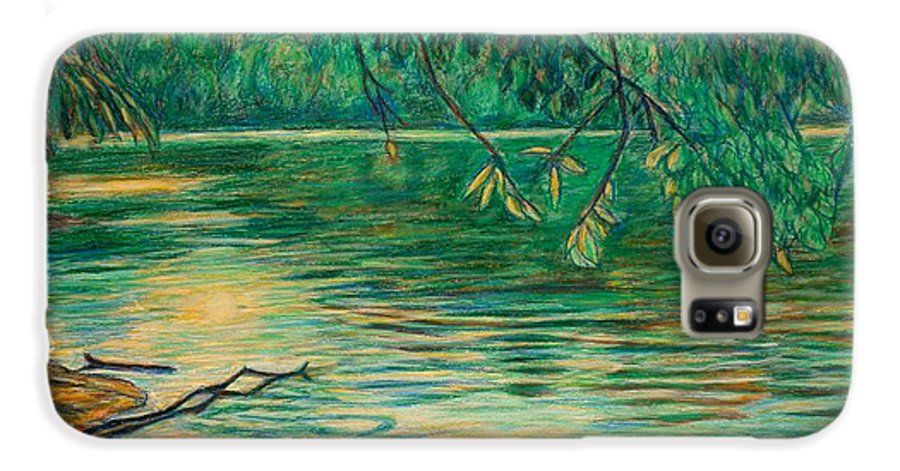 Landscape Galaxy S6 Case featuring the painting Mid-spring On The New River by Kendall Kessler