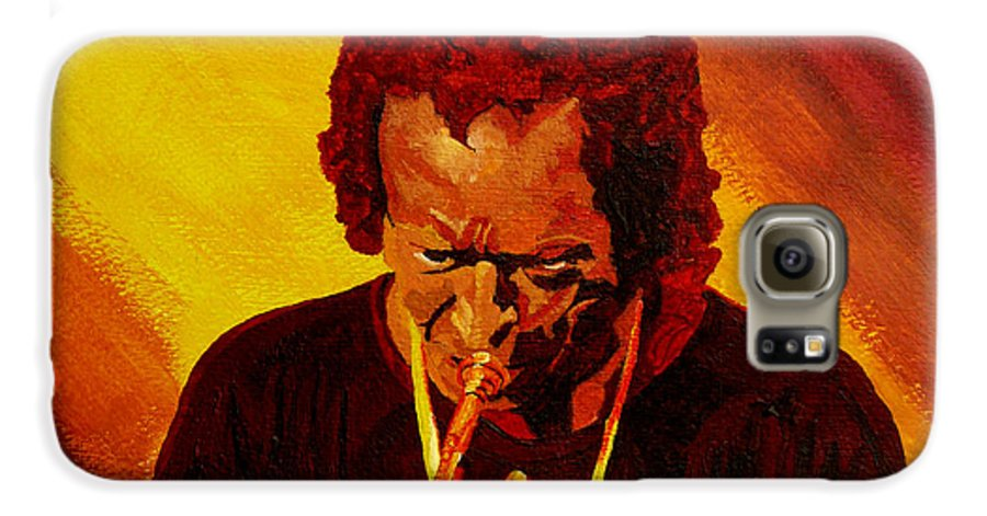 Miles Davis Galaxy S6 Case featuring the painting Miles Davis Jazz Man by Anthony Dunphy