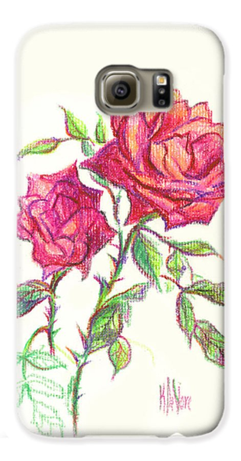 Nature Galaxy S6 Case featuring the painting Minature Red Rose by Kip DeVore