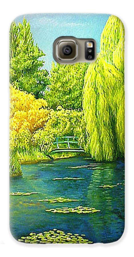 Monets Lily Pond Galaxy S6 Case featuring the painting Monets Lily Pond In Green by Gary Hernandez