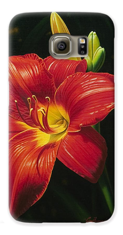 Lily Galaxy S6 Case featuring the painting Monikas Red Lily by Gary Hernandez