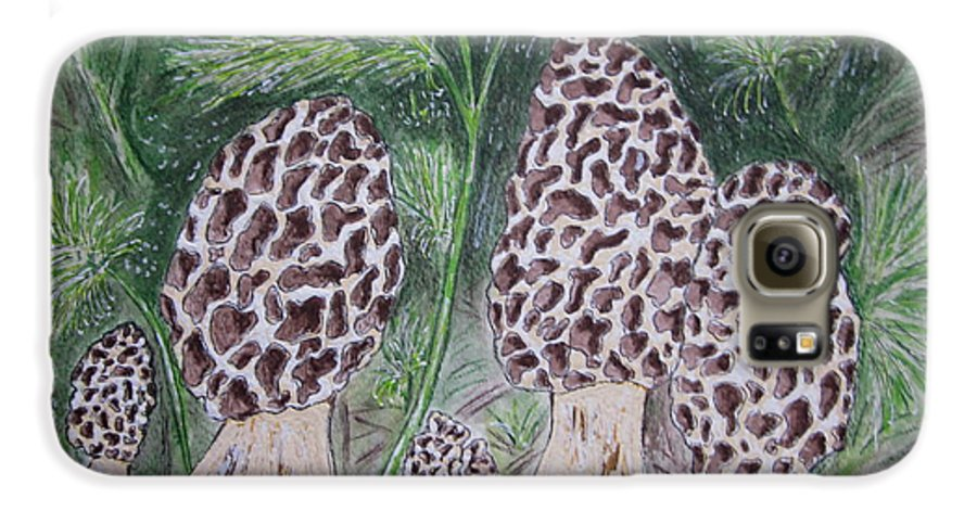 Morel Galaxy S6 Case featuring the painting Morel Mushrooms by Kathy Marrs Chandler
