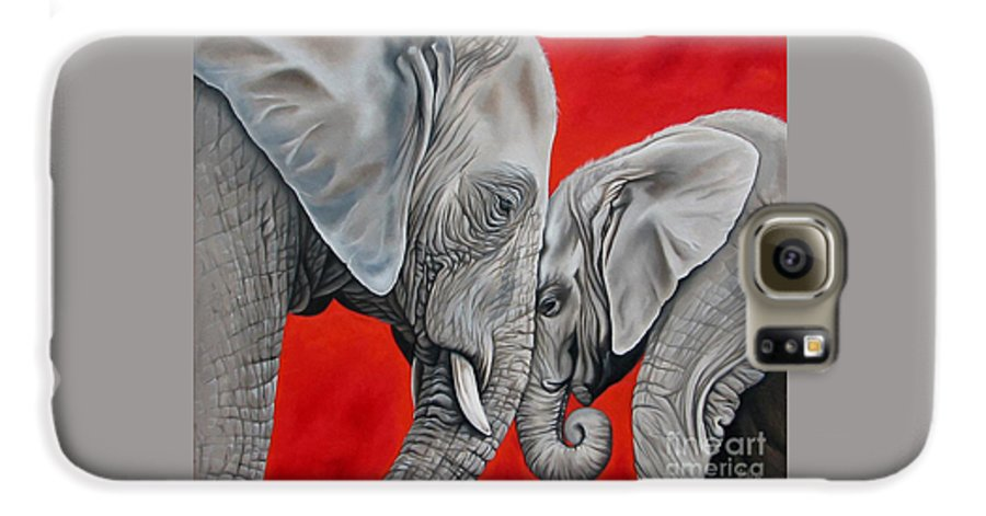 Elephant Galaxy S6 Case featuring the painting Mothers Love by Ilse Kleyn