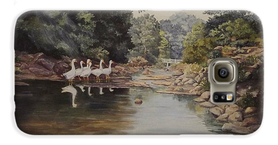 Landscape Galaxy S6 Case featuring the painting Mountain Home Creek by Wanda Dansereau